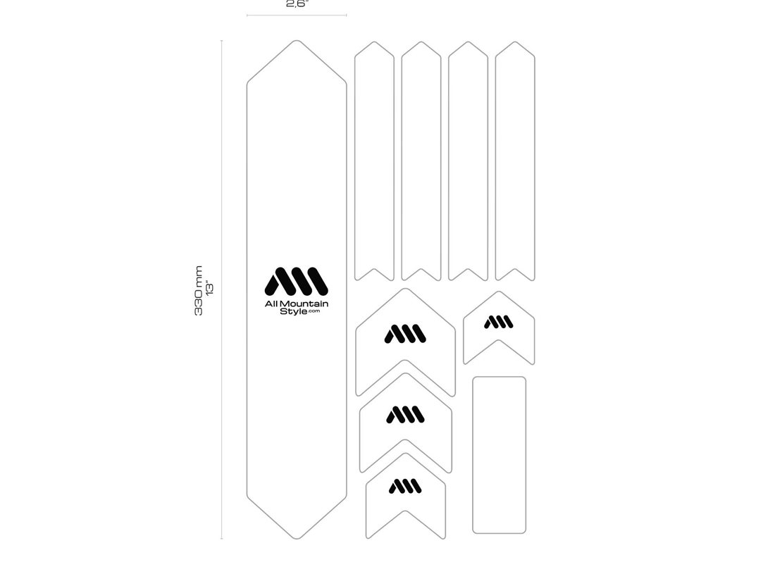 All Mountain Style HONEYCOMB MTB Frame Guard Protection Stickers SILVER//WHITE XL