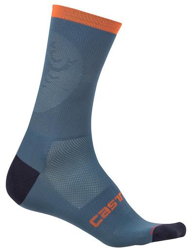 Castelli Routa 13 Socks 2019 Men's Size XX Large in Light Steel Blue/Orange