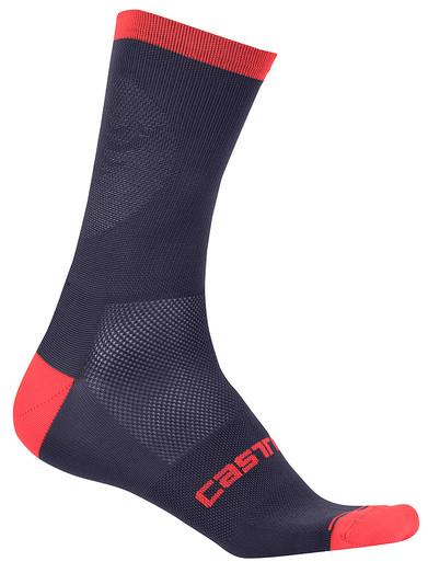 Castelli | Ruota 13 Socks Men's | Size Small/Medium in Light Steel Blue/Red