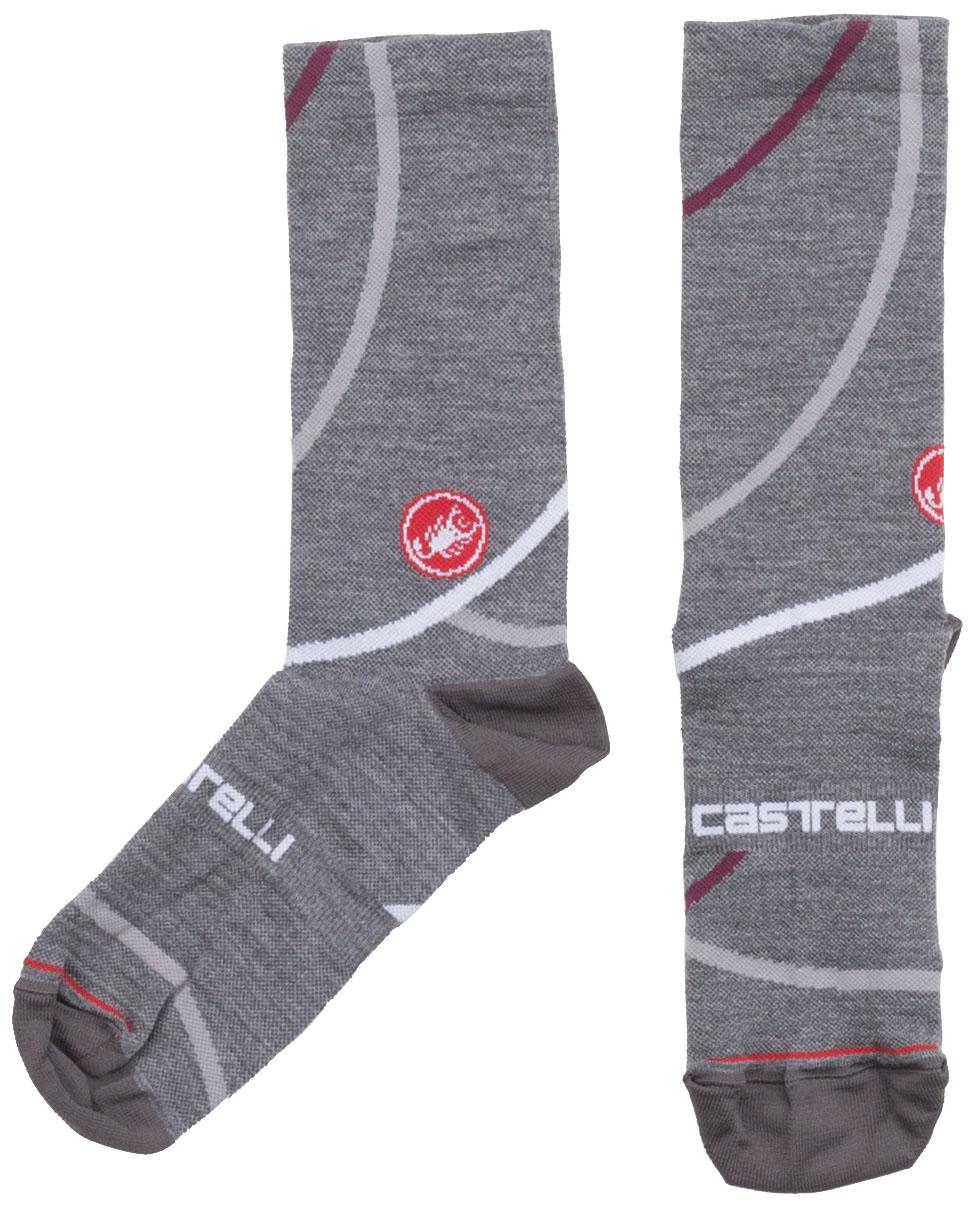 Castelli Women's Sinergia 18 Socks Size Large/Extra Large in Melange Gray