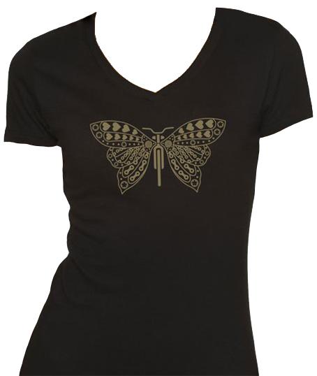 Dhdwear Butterfly Women's T-Shirt Size Extra Large in Black