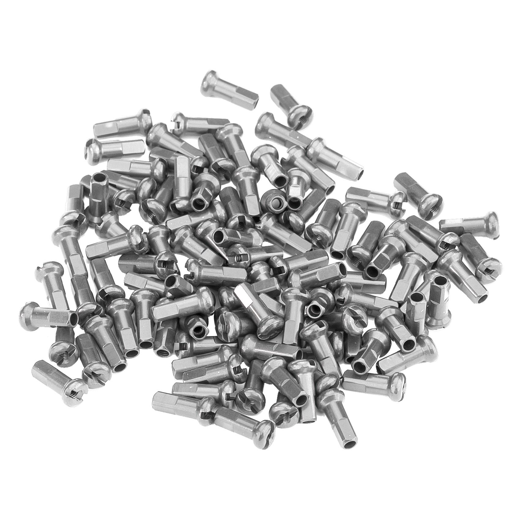 100 count Silver DT Swiss 1.8 x 12mm Brass Nipples 1.8x12mm