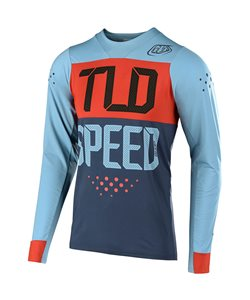 Troy Lee Designs Skyline Speedshop Long Sleeve Jersey Men's Size Small in Stone Blue/Clay