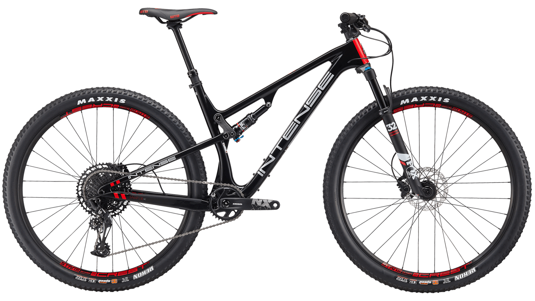 intense full suspension mountain bike in black and red