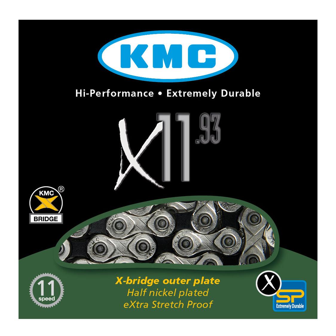 KMC X11.93 11-SPEED 116 LINKS BLACK//SILVER MTB-ROAD BIKE BICYCLE CHAIN