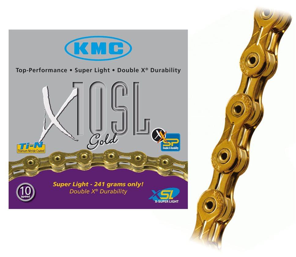 KMC X10SL Chain 10 speed 116 Links Titanium Nitride Reusable Master Link Gold