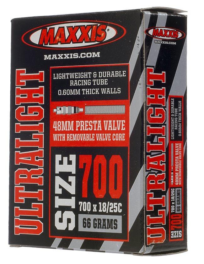 Maxxis | Ultralight Presta Valve Tube 700X18-25C, 48mm Presta Rvc