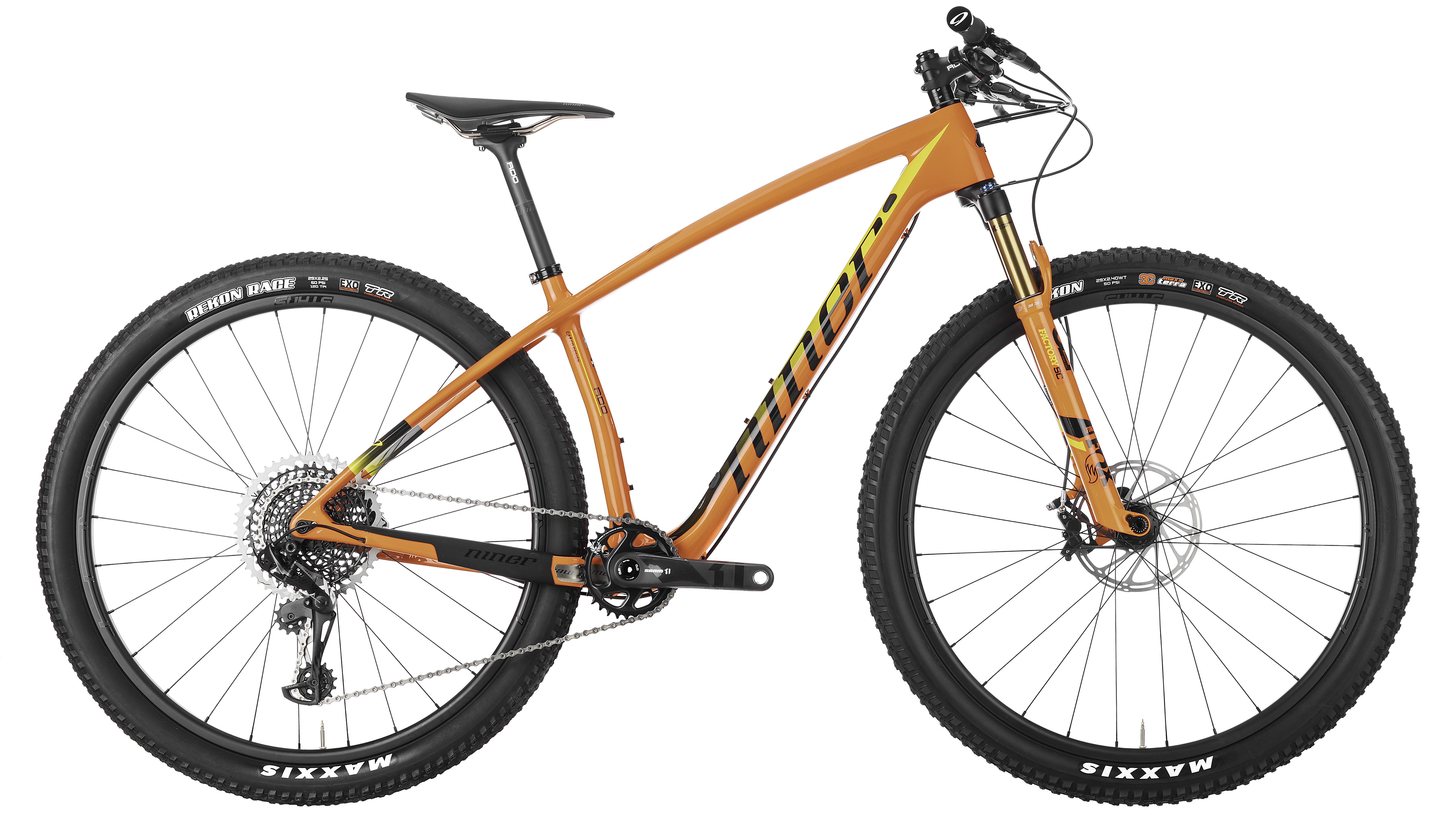 Orange colored XC hardtail race bike by Niner