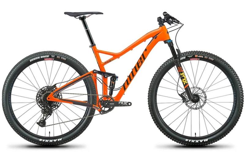 orange full suspension bike