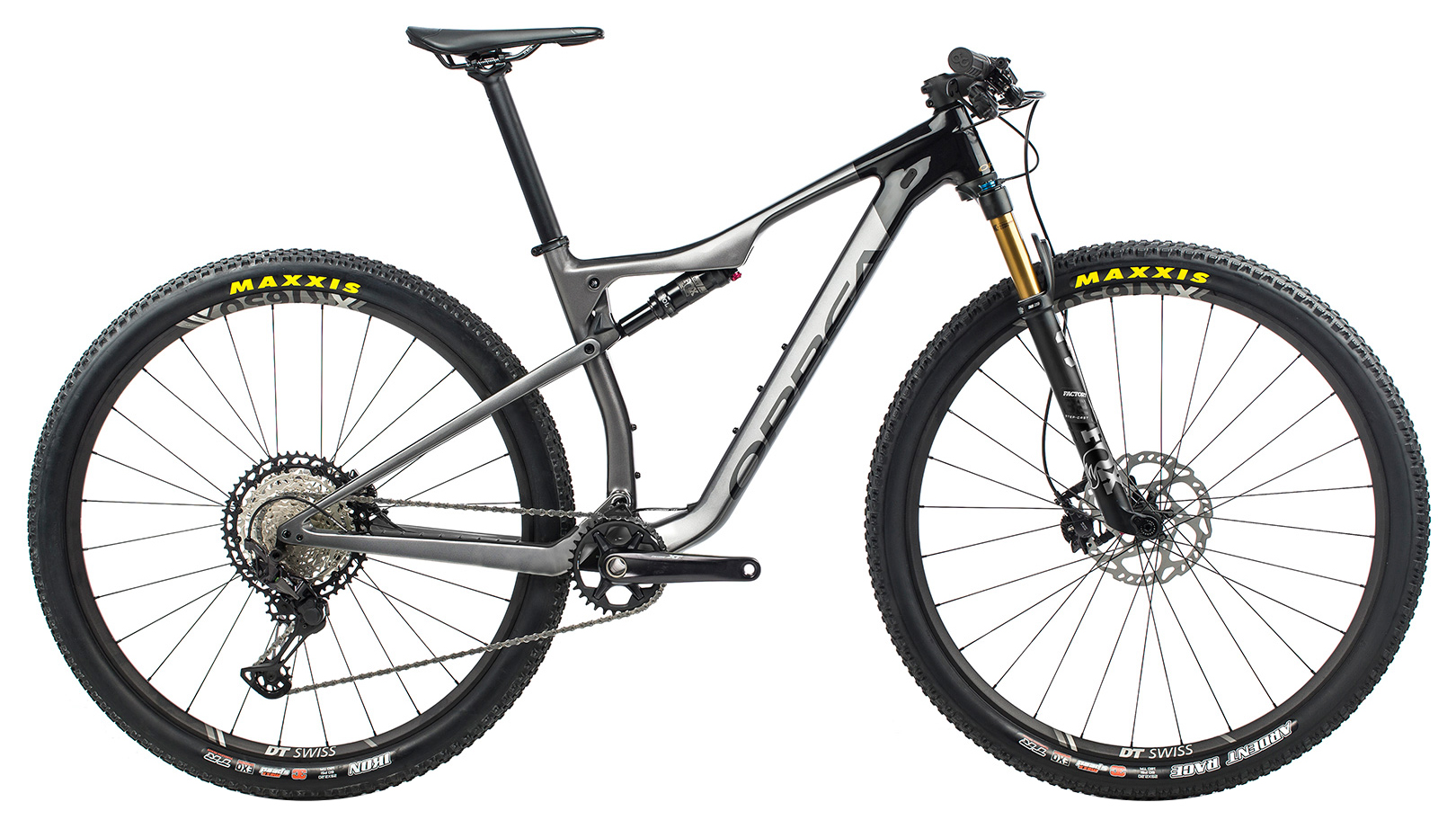 grey full suspension mountain bike with a dropper post