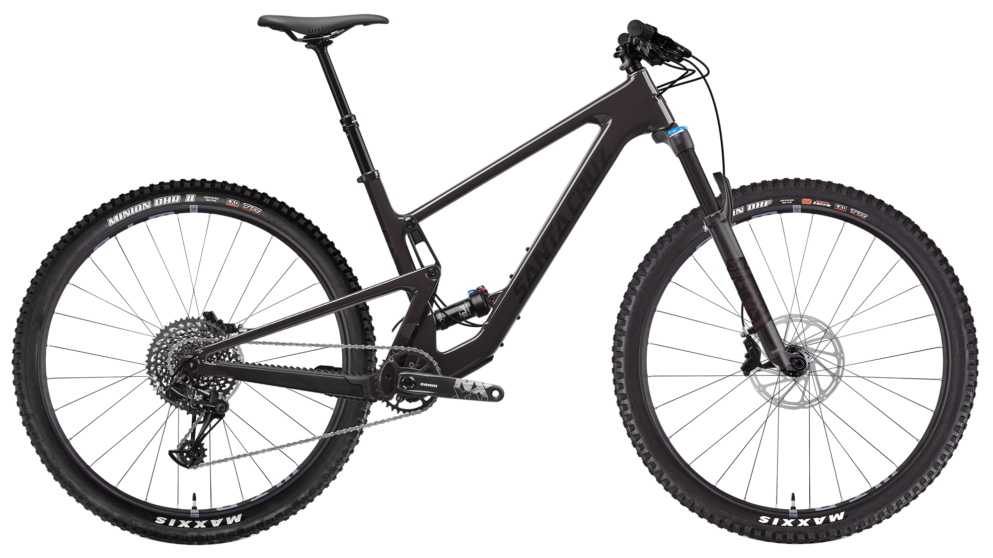santa cruz black full suspension mountain bike
