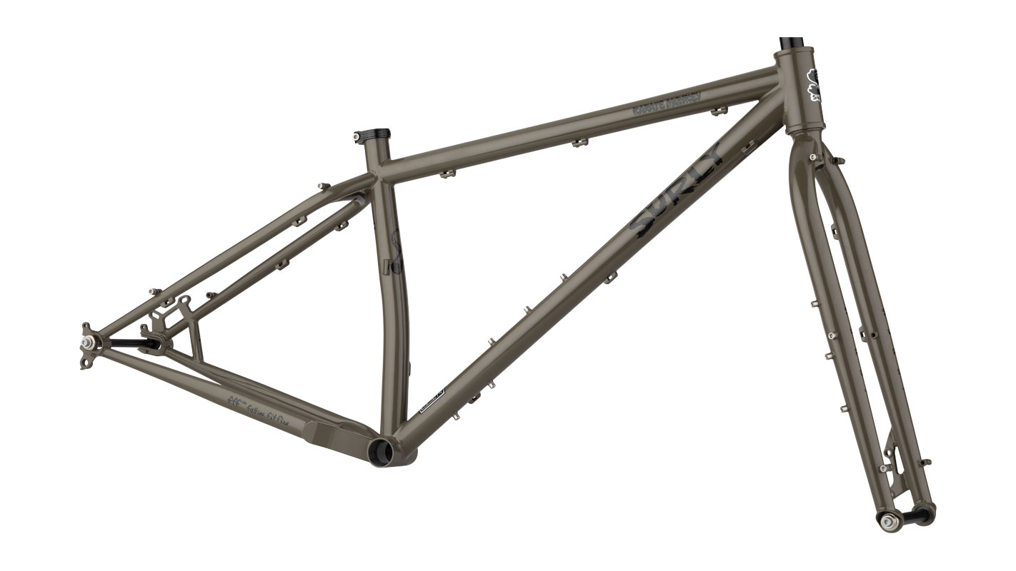 surly karate monkey steel bike frame with external cable routing