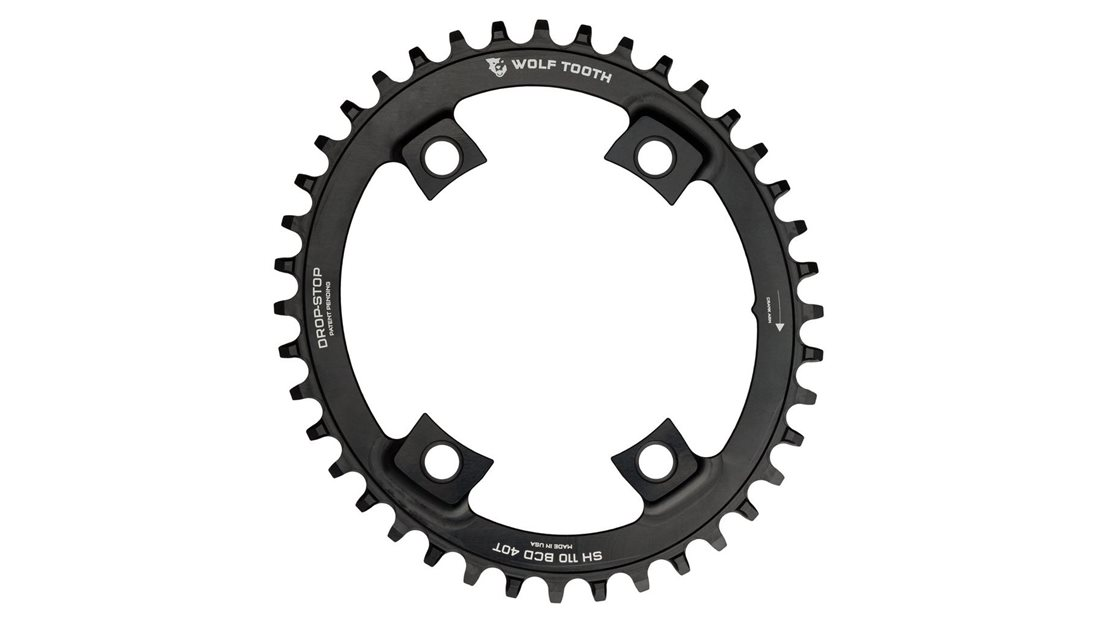 40T x 110 BCD Wolf Tooth Components Drop-Stop PowerTrac Chainring Black