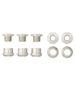 Wolf Tooth Components | Set of 5 Chainring Bolts+Nuts | Silver | 6mm