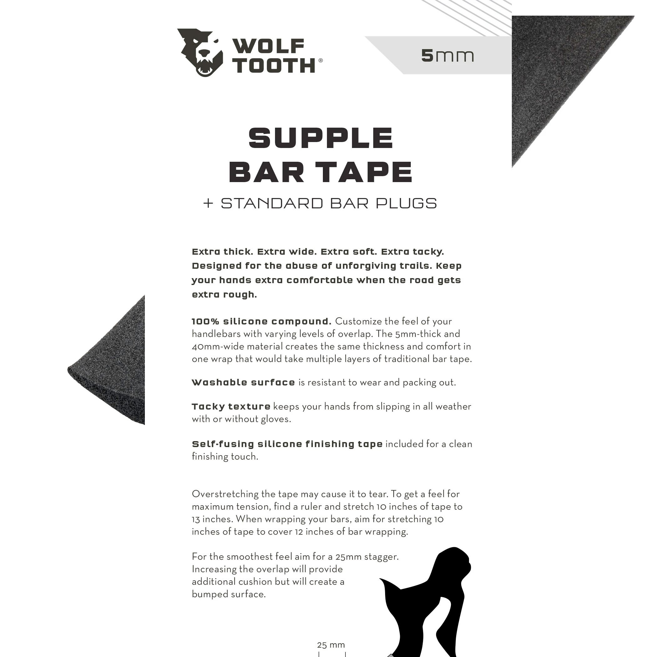 Bar Tape Supple Bar Tape Black Wolf Tooth Components Supple Handlebar Tape